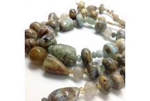 Necklace Unique Piece : Foam Rock - Unique Piece Necklace : Multicolored Common rough Opal, Aquamarine, Rutile Quartz