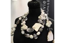 Necklace Unique Piece : White Smoke - White Agate, Quartz, Rock Crystal, Pyrita
