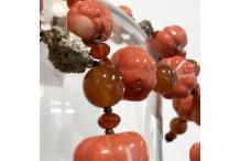 "Long Necklace Unique Piece :  ""Corail"" in Pyrite, cornaline, coral roots"