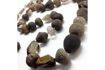 Long necklace Unique Piece: antic Terra Cotta, Smoked Quartz...