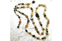 Necklace Unique Piece : Sun Fire- Citrine, Agates