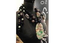 """Necklace Unique Piece """"China Town"""" Jadeite, antic turquoise, smoked quartz, quartz, brown agate, black agate"""