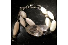 """Necklace Unique Piece """"Pure Rock"""" Antic white agate, pyrite, rock crystal"""