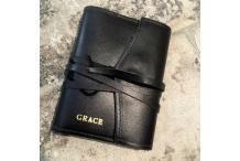 """""""Grace"""" Livre Blanc en cuir noir petit"""