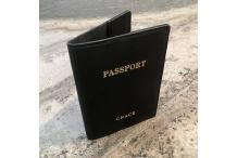 """Grace"" Black Leather Passport Cover"