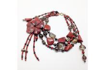 Necklace unique piece Lacquer: Red Jasper, Smoked Quartz, Pyrite