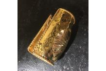 Gold-tone Cuff Bracelet Handmade Shell