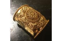 Gold-tone Cuff Bracelet Handmade Rose Window