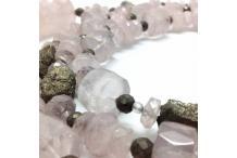 Necklace unique piece : Angel, Pyrite & Pink Quartz...